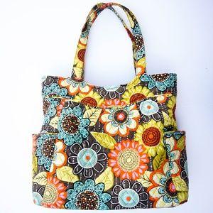 Vera Bradley Floral Pattern Quilted Tote Handbag
